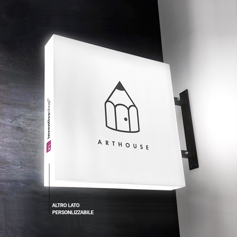 LIGHT-BOX: insegna luminosa bifacciale
