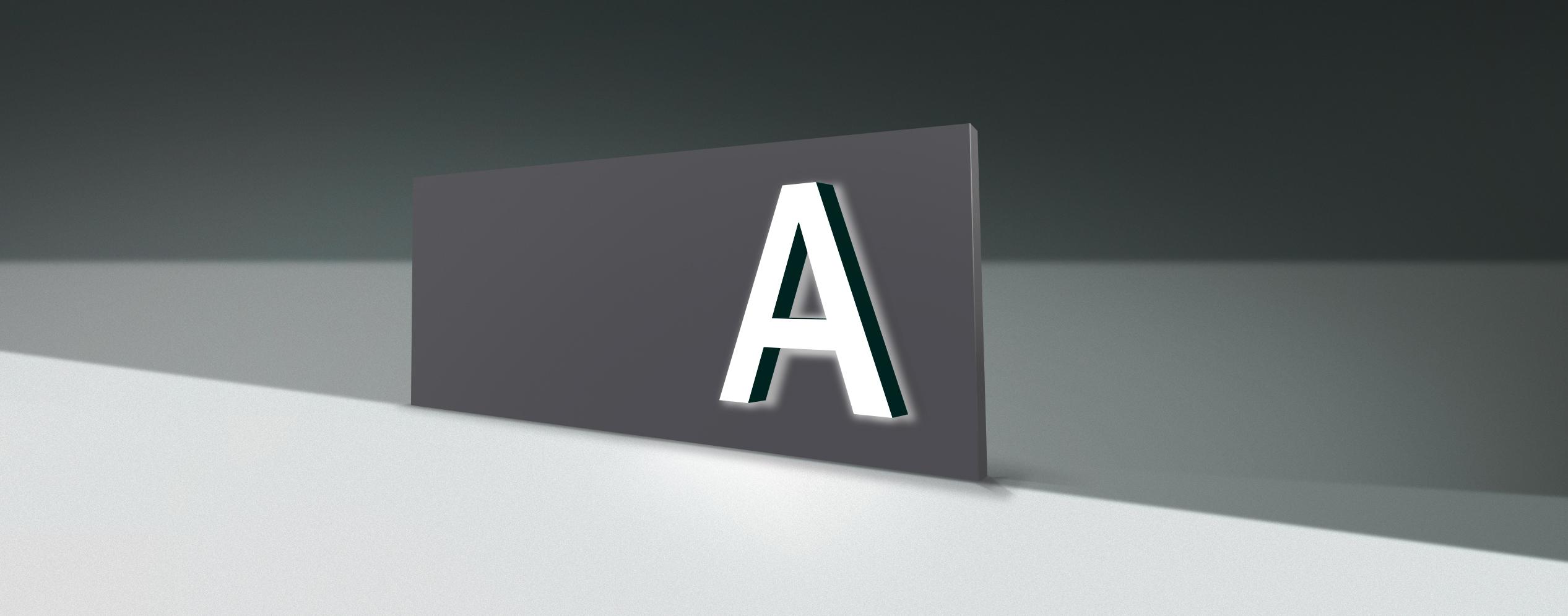 Insegne con lettere sporgenti